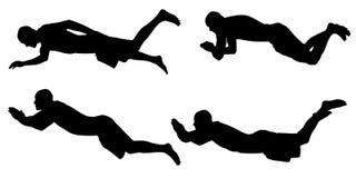 Vektorschattenbild Leute, das schwimmen Stockbild