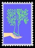 Vektorschattenbildbaum in der Hand Lizenzfreie Stockfotografie