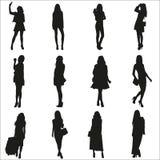 Vektorschattenbilder der jungen Mädchen Stockfotografie