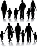 Vektorschattenbilder der Muttergesellschaft mit Kindern Lizenzfreies Stockbild