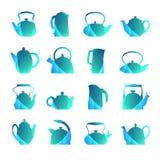 Vektorschattenbilder stilisierten den flachen lokalisierten Logoteekannensatz Teapo Stockbilder