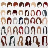 Vektorschattenbilder von Frauen ` s Haarschnitten Stockfotografie
