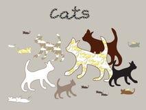 Vektorschattenbilder von Katzen und von Maus Lizenzfreie Stockfotografie