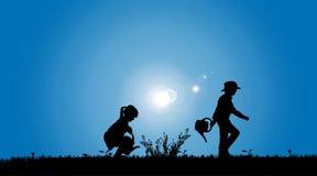 Vektorschattenbilder von Kindern Stockfoto