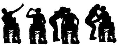 Vektorschattenbilder von Leuten in einem Rollstuhl vektor abbildung