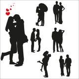 Vektorschattenbilder von liebevollen Paaren Lizenzfreies Stockbild