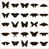 25 Vektorschattenbilder von Schmetterlingen Lizenzfreies Stockfoto
