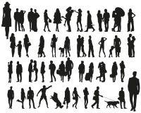 Vektorschattenbilder von städtischen Leuten Lizenzfreie Stockfotografie