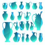 Vektorschattenbilder von Vasen Lokalisierte Tonware Digital-Ikone für Lizenzfreie Stockfotografie