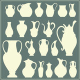 Vektorschattenbilder von Vasen Lokalisierter Tonwarensatz Stockfotografie