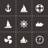 Vektorschiffs- und -bootsikonensatz Lizenzfreie Stockfotografie