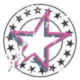 Vektorschmutz-Sternausweis Rundes Emblem mit kleinen Sternen auf Kreisgrenze und großem Stern auf Mitte Stockbilder