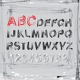 Vektorschmutzalphabet Buchstaben und Zahlen Stockbilder