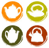 Vektorschmutzfarblogo-Teekannensatz Stockfotos