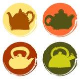 Vektorschmutzfarblogo-Teekannensatz Stockfoto