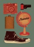 Vektorschmutzsatz Retro- Sachen für Reisenden Auch im corel abgehobenen Betrag Stockfoto