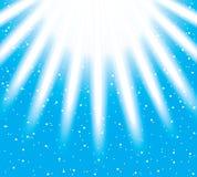 Vektorschneeflocken, die auf helle Strahlen absteigen Stockfotos