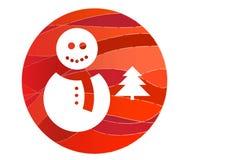 VektorSchneemann und ein Weihnachtsbaum Lizenzfreie Stockbilder