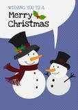 Vektorschneemannfamiliencharakter-Grußkarte der frohen Weihnachten Lizenzfreie Stockfotografie