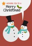 Vektorschneemannfamiliencharakter-Grußkarte der frohen Weihnachten Stockbild