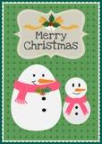 Vektorschneemannfamiliencharakter-Grußkarte der frohen Weihnachten Stockfotos