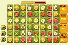 Vektorschnittstelle FRUCHT Match3 Spiele Verschiedene Früchte, Spielanlagegutikonen Stockbilder