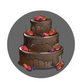 Vektorschokoladenkuchen mit Beeren Lizenzfreie Stockfotos