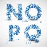 Vektorschrifttyp gebildet von den blauen Zeichen des Alphabetes Lizenzfreie Stockfotografie