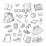 Vektorschulelement-Kleidungsbriefpapier Verschiedene Symbolbildung für Design Gesetzte Skizzenkontur des schwarzen Weiß Lizenzfreie Stockfotos