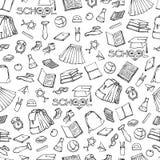 Vektorschulnahtloses Muster kleidet Briefpapier Verschiedene Symbolbildung des Hintergrundes für Design Schwarzer Weißsatz Stockbilder