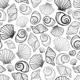 Vektorschwarz-, weißes und Grauesmuschelwiederholungsmuster Passend für Geschenkverpackung, -gewebe und -tapete vektor abbildung