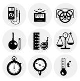 Vektorschwarze Messen-Ikonen Lizenzfreie Stockfotos
