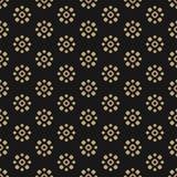 Vektorschwarzes und Goldnahtloses mit Blumenmuster mit Blumenformen, Kreise, Punkte stock abbildung