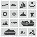 Vektorschwarzschiffs- und -bootsikonen eingestellt Stockbilder