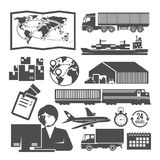 Vektorschwarzweiss-Logistikikonen Lizenzfreies Stockfoto