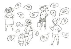 Vektorschwarzweiss-Skizzen-Illustrationssatz schwangere Frauen Erwartung des Kindes und des Gefühls Gefühle und vektor abbildung