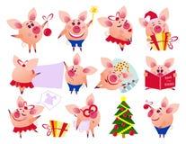 Vektorschwein eingestellt in verschiedene Situationen stock abbildung