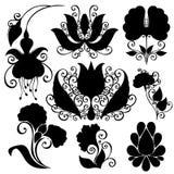 Vektorset av blommor Isolerade stenciler Royaltyfri Fotografi