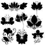 Vektorset av blommor Isolerade stenciler Arkivfoto