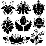 Vektorset av blommor Isolerade stenciler Fotografering för Bildbyråer