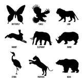 Vektorset av djursilhouetten vektor illustrationer