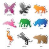 Vektorset av djursilhouetten stock illustrationer
