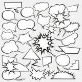 Vektorset Comics-Art-Sprache-Luftblasen Stockfoto