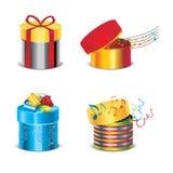 Vektorset des Geschenkkastens mit Anmerkungen Lizenzfreie Stockfotos