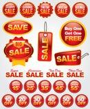 Vektorset des Verkaufs und der Förderungs-Kennsätze und der Abzeichen Stockfotografie
