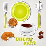Vektorset Ikonen: Frühstück Lizenzfreie Stockfotografie
