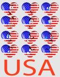 Vektorset Innere mit einer Markierungsfahne USA und Personen Lizenzfreie Stockbilder