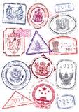 Vektorset internationale Paßstempel. Lizenzfreie Stockbilder