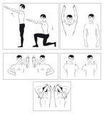 Vektorset körperliche Übungen, zum sich der Drehbeschleunigung zu entspannen Lizenzfreie Stockfotografie