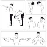 Vektorset körperliche Übungen, zum sich der Drehbeschleunigung zu entspannen Stockfotos